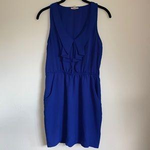 silence + noise Blue Dress Pockets Bib Cinch Waist